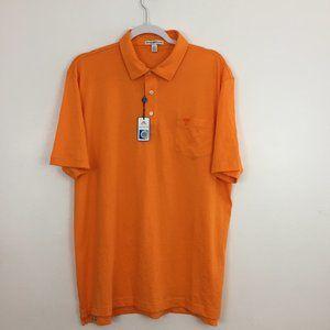 Peter Millar Men's Polo Golf Shirt Size L Orange